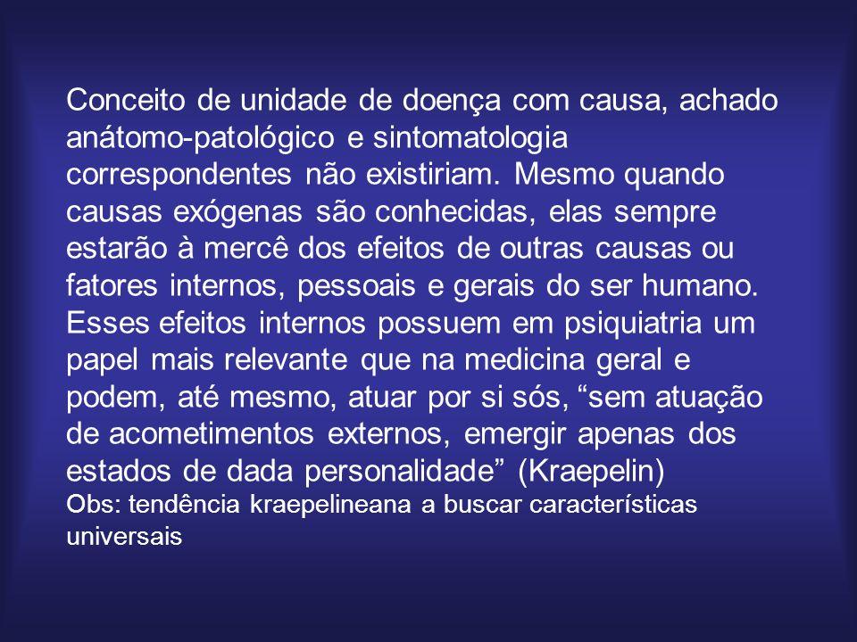Conceito de unidade de doença com causa, achado anátomo-patológico e sintomatologia correspondentes não existiriam.