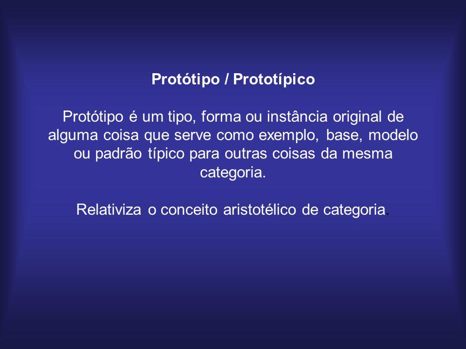 Protótipo / Prototípico Protótipo é um tipo, forma ou instância original de alguma coisa que serve como exemplo, base, modelo ou padrão típico para outras coisas da mesma categoria.