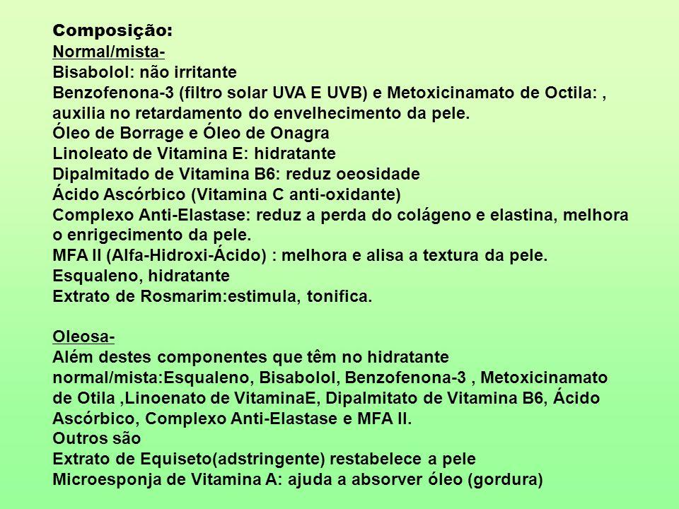 Composição: Normal/mista- Bisabolol: não irritante Benzofenona-3 (filtro solar UVA E UVB) e Metoxicinamato de Octila:, auxilia no retardamento do enve
