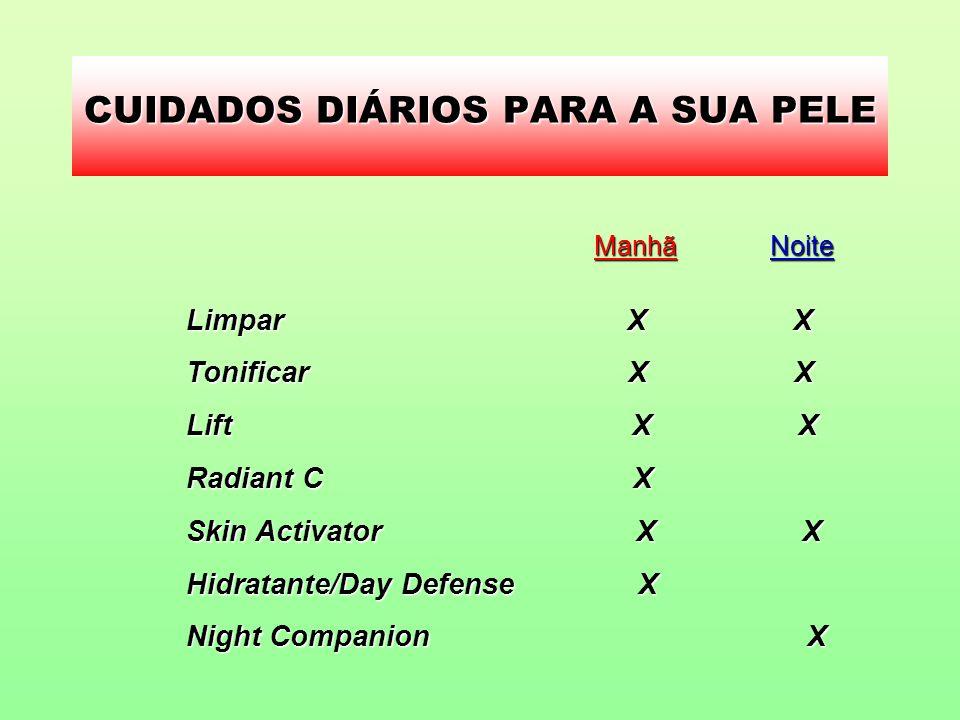 CUIDADOS DIÁRIOS PARA A SUA PELE NoiteManhã Limpar X X Tonificar X X Lift X X Radiant C X Skin Activator X X Hidratante/Day Defense X Night Companion