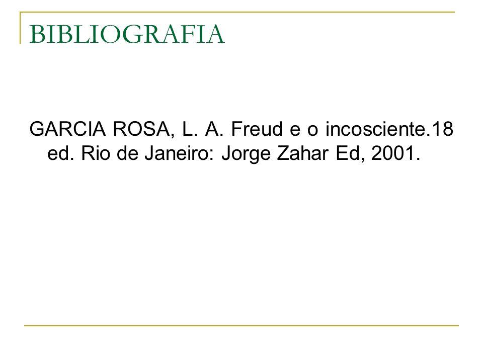 BIBLIOGRAFIA GARCIA ROSA, L. A. Freud e o incosciente.18 ed. Rio de Janeiro: Jorge Zahar Ed, 2001.