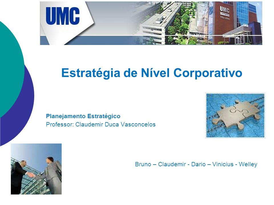 Estratégia de Nível Corporativo Planejamento Estratégico Professor: Claudemir Duca Vasconcelos Bruno – Claudemir - Dario – Vinicius - Welley