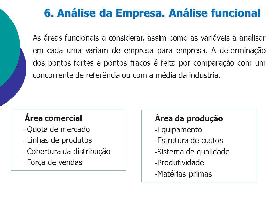 6. Análise da Empresa. Análise funcional As áreas funcionais a considerar, assim como as variáveis a analisar em cada uma variam de empresa para empre