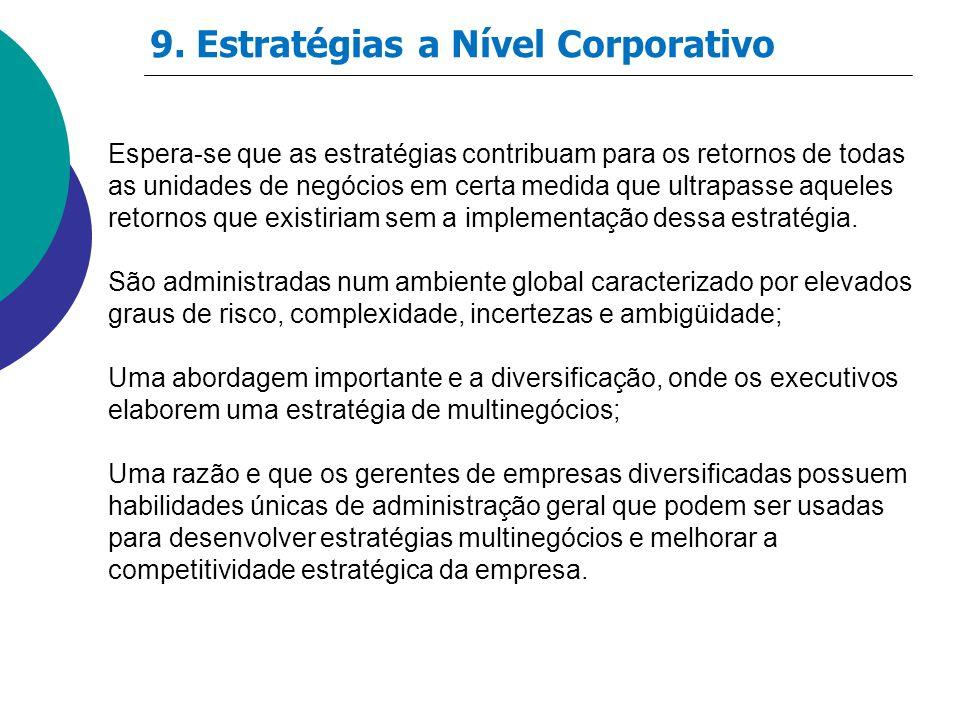 9. Estratégias a Nível Corporativo Espera-se que as estratégias contribuam para os retornos de todas as unidades de negócios em certa medida que ultra