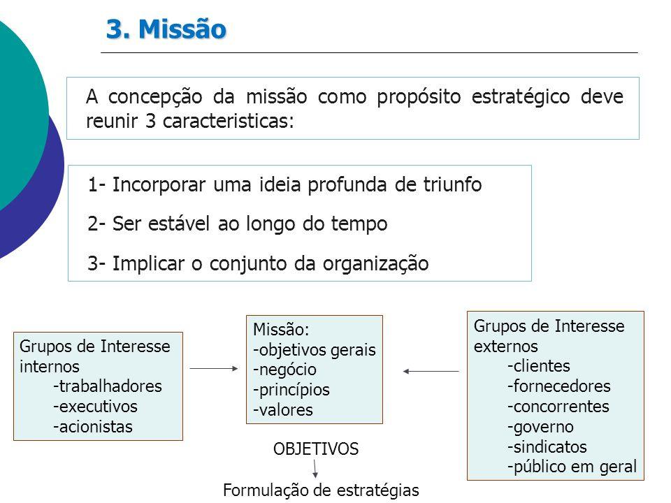 A concepção da missão como propósito estratégico deve reunir 3 caracteristicas: 1- Incorporar uma ideia profunda de triunfo 2- Ser estável ao longo do