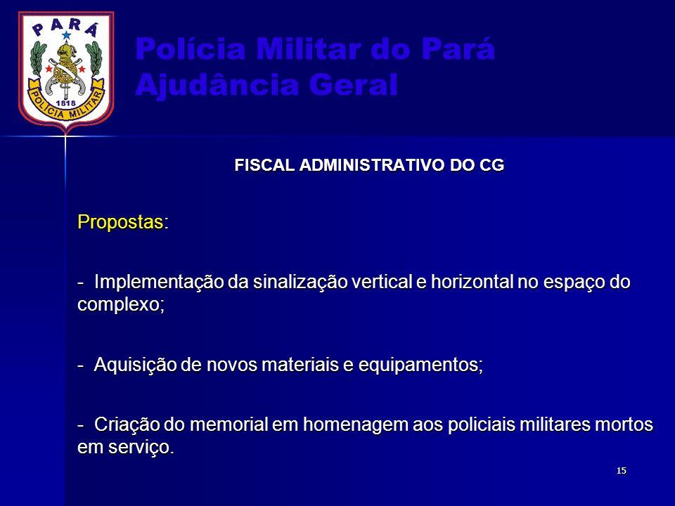 Polícia Militar do Pará Ajudância Geral FISCAL ADMINISTRATIVO DO CG Propostas: - Implementação da sinalização vertical e horizontal no espaço do compl