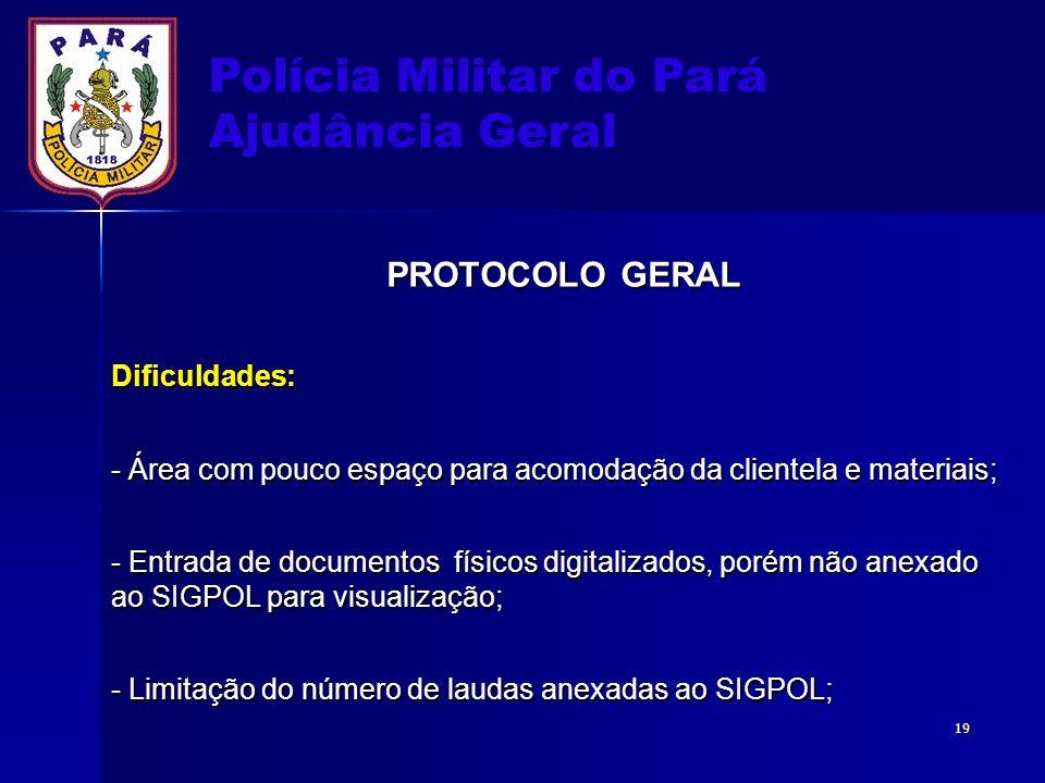 Polícia Militar do Pará Ajudância Geral PROTOCOLO GERAL Dificuldades: - Área com pouco espaço para acomodação da clientela e materiais; - Entrada de d