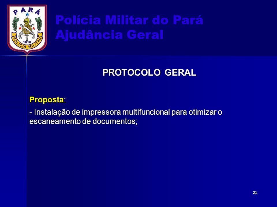 Polícia Militar do Pará Ajudância Geral PROTOCOLO GERAL Proposta: - Instalação de impressora multifuncional para otimizar o escaneamento de documentos