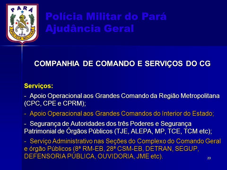 Polícia Militar do Pará Ajudância Geral COMPANHIA DE COMANDO E SERVIÇOS DO CG Serviços: - Apoio Operacional aos Grandes Comando da Região Metropolitan