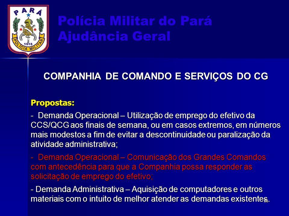 Polícia Militar do Pará Ajudância Geral COMPANHIA DE COMANDO E SERVIÇOS DO CG Propostas: - Demanda Operacional – Utilização de emprego do efetivo da C