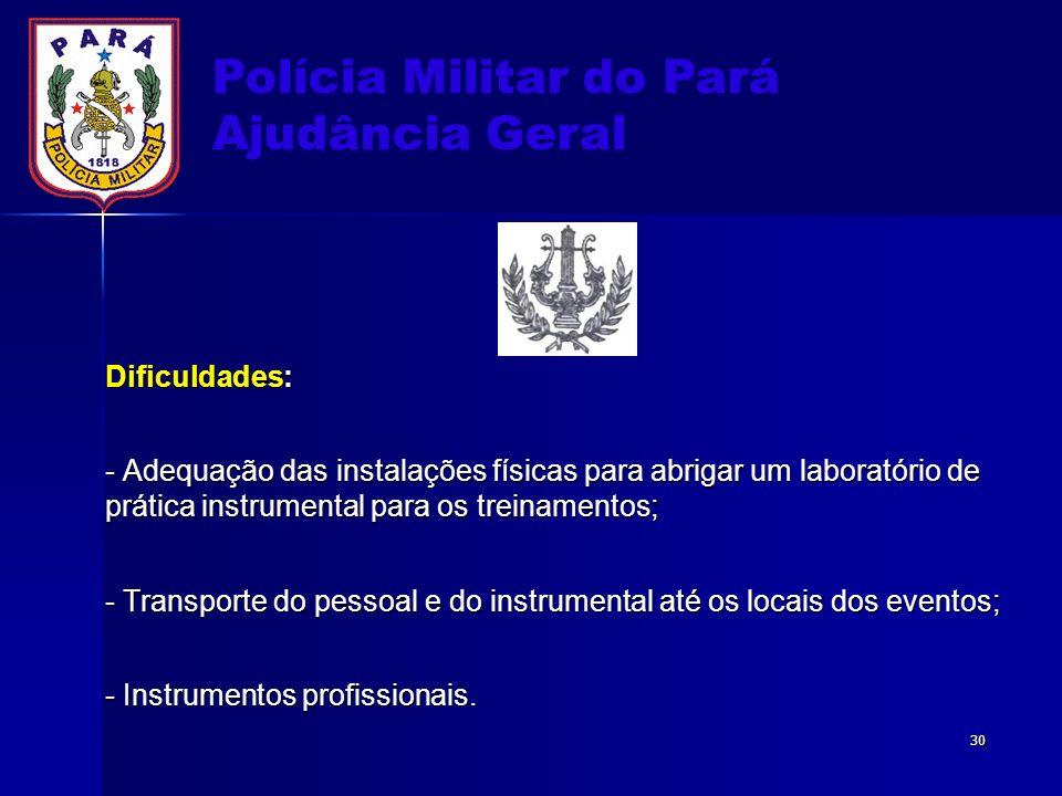 Polícia Militar do Pará Ajudância Geral Dificuldades: - Adequação das instalações físicas para abrigar um laboratório de prática instrumental para os