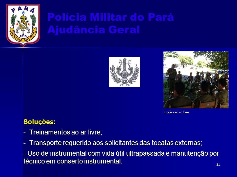 Polícia Militar do Pará Ajudância Geral Soluções: - Treinamentos ao ar livre; - Transporte requerido aos solicitantes das tocatas externas; - Uso de i