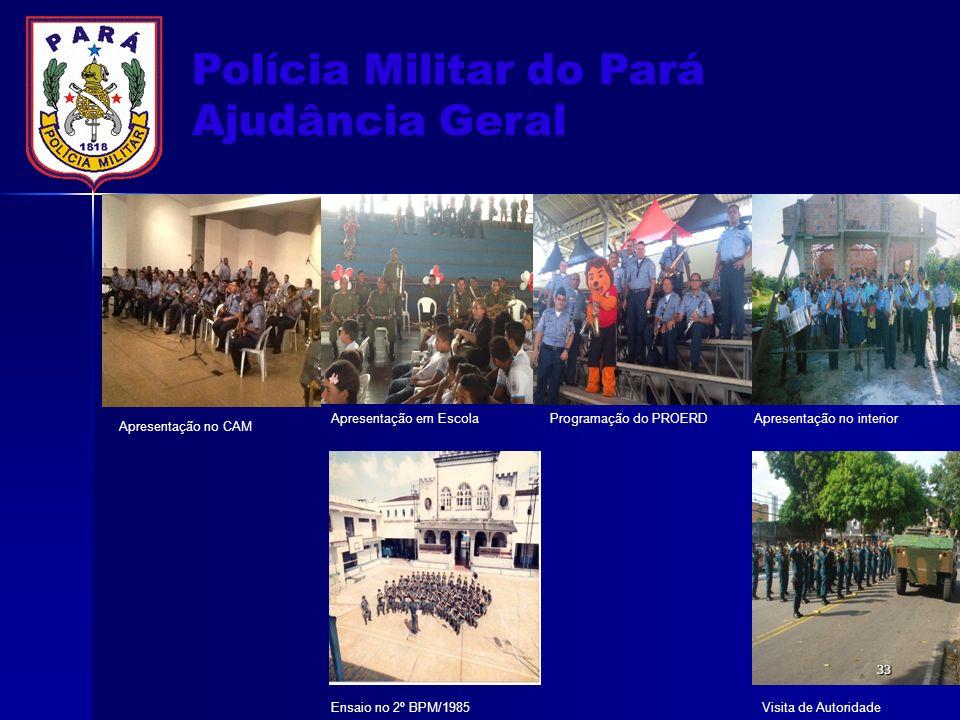 Polícia Militar do Pará Ajudância Geral Apresentação no CAM Apresentação em EscolaProgramação do PROERDApresentação no interior Ensaio no 2º BPM/1985V