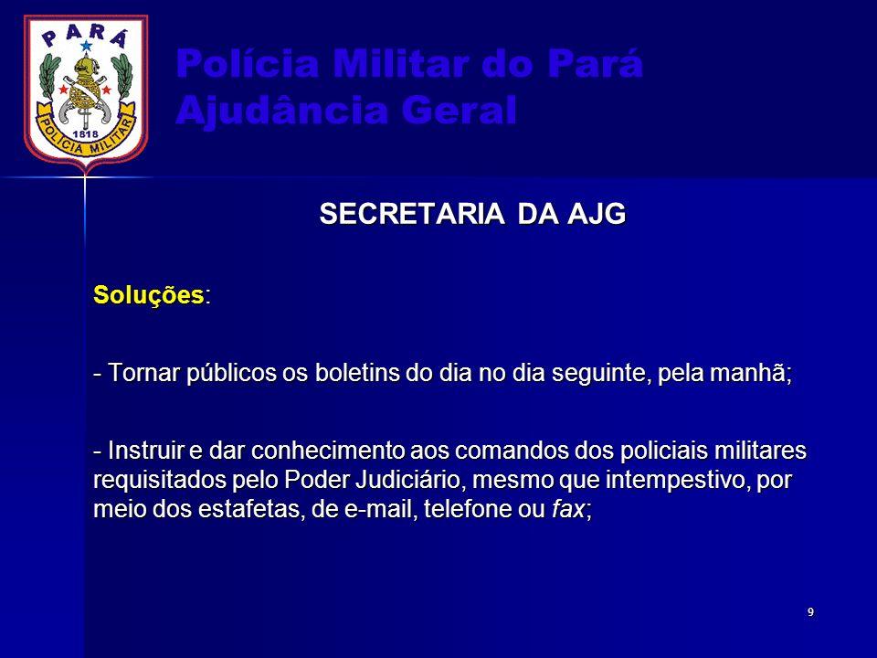 Polícia Militar do Pará Ajudância Geral SECRETARIA DA AJG Soluções: - Tornar públicos os boletins do dia no dia seguinte, pela manhã; - Instruir e dar