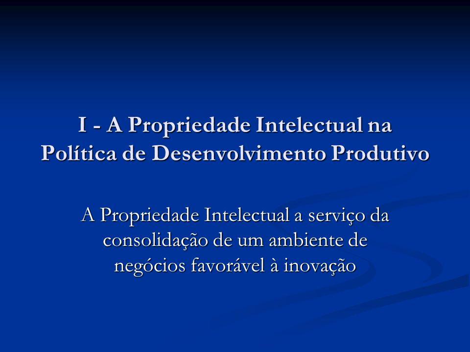 I - A Propriedade Intelectual na Política de Desenvolvimento Produtivo A Propriedade Intelectual a serviço da consolidação de um ambiente de negócios favorável à inovação