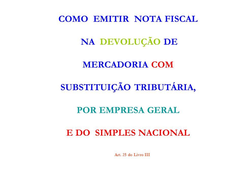 1.A EMPRESA GERAL EMITE TRÊS NOTA FISCAIS: a)Para fazer a devolução da mercadoria e do ICMS próprio; b)Para fazer o crédito do ICMS PRÓPRIO; c)Para fazer a devolução do ICMS de responsabilidade – ST.