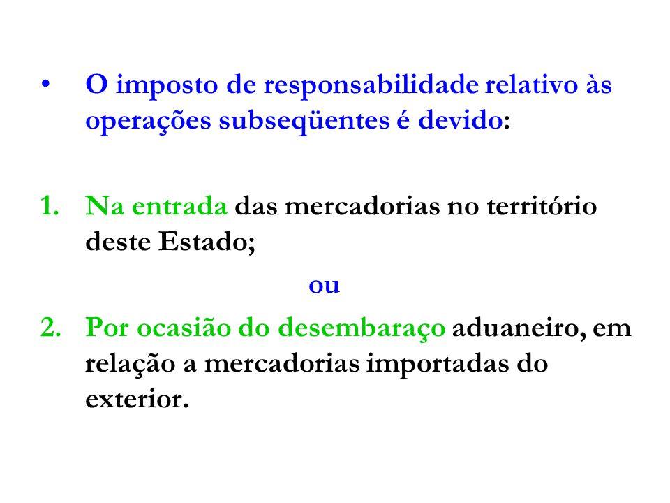 COMO CÁLCULAR O DÉBITO DE RESPONSABILI- DADE NAS OPERAÇÕES INTERESTADUAIS - 1.Se o REMETENTE for enquadrado na CATEGORIA GERAL: a)O débito fiscal será calculado pela aplicação da alíquota interna sobre a BC prevista no Livro III (MVA) para as diversas mercadorias, deduzindo-se, do valor obtido, o débito fiscal próprio do remetente.