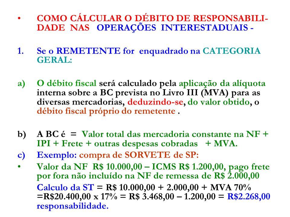 2.SE O REMETENTE FOR DO SIMPLES NACIONAL: Na hipótese de estabelecimento REMETENTE for optante pelo Simples Nacional, o valor a ser deduzido, relativo ao débito fiscal próprio do remetente, será o valor presumido desse débito calculado na forma como ocorreria a tributação se o contribuinte não fosse optante pelo Simples Nacional; Exemplo: compra de SORVETE de MG de Simples Nacional; Valor da mercadoria = R$ 10.000,00 + frete por fora =R$ 2.000,00 Valor presumido = 10.000,00 x 12% = R$ 1.200,00 Calculo da ST = R$ 10.000,00 + 2.000,00 + MVA 70% =R$20.400,00 x 17% = R$ 3.468,00 – 1.200,00 = R$2.268,00 responsabilidade