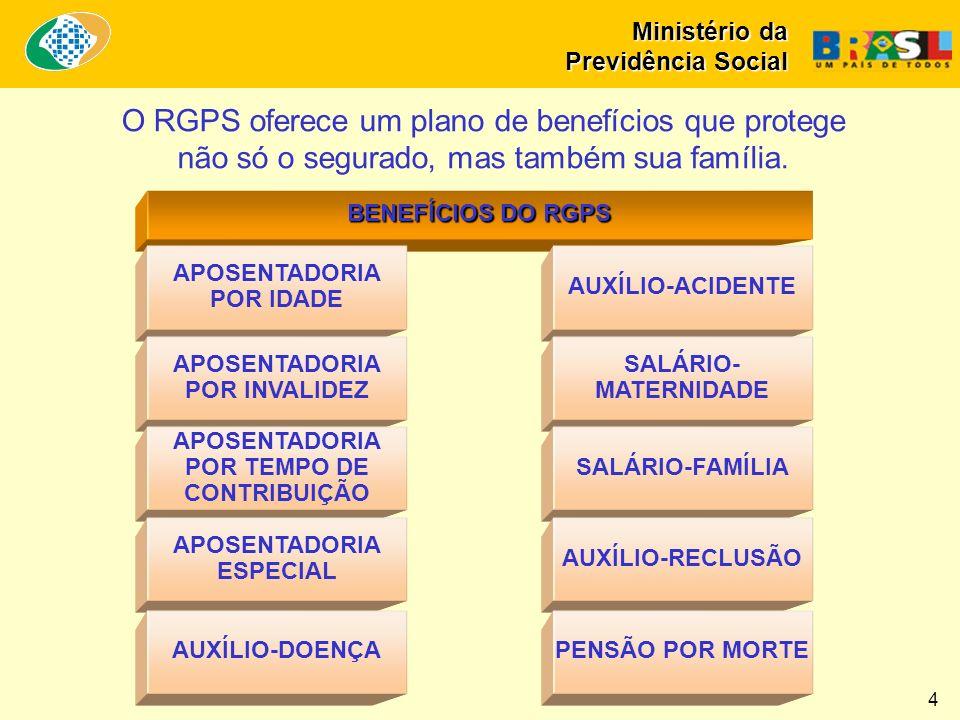 BENEFÍCIOS DO RGPS O RGPS oferece um plano de benefícios que protege não só o segurado, mas também sua família.