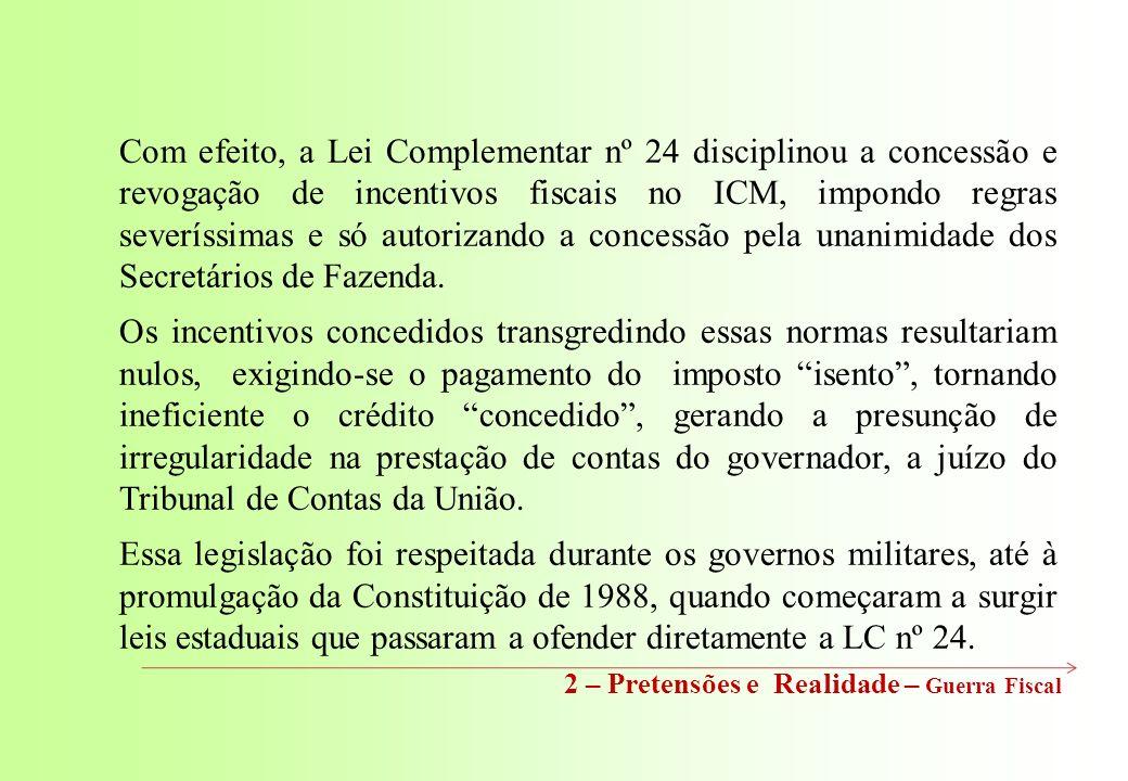 Com efeito, a Lei Complementar nº 24 disciplinou a concessão e revogação de incentivos fiscais no ICM, impondo regras severíssimas e só autorizando a concessão pela unanimidade dos Secretários de Fazenda.