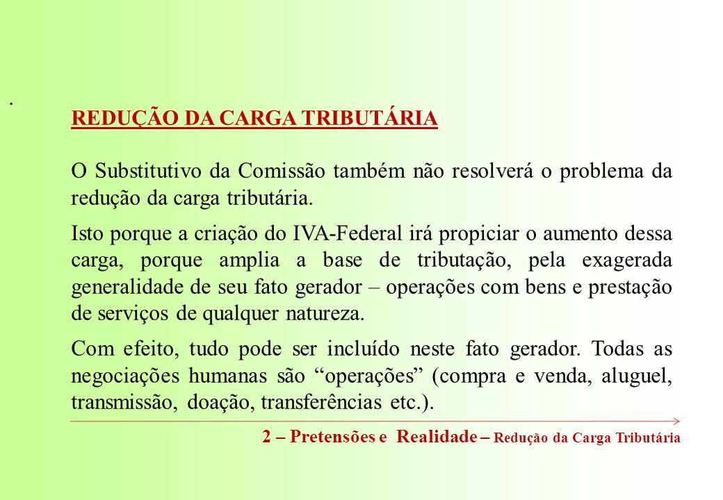 2 – Pretensões e Realidade – Redução da Carga Tributária REDUÇÃO DA CARGA TRIBUTÁRIA O Substitutivo da Comissão também não resolverá o problema da redução da carga tributária.