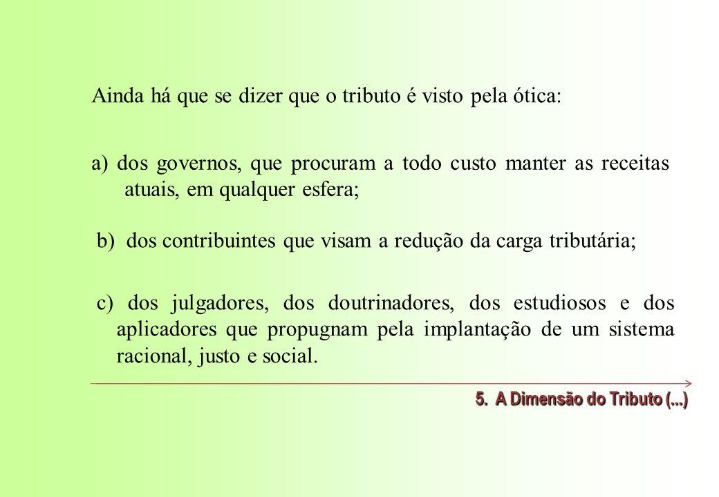 a) dos governos, que procuram a todo custo manter as receitas atuais, em qualquer esfera; 5.