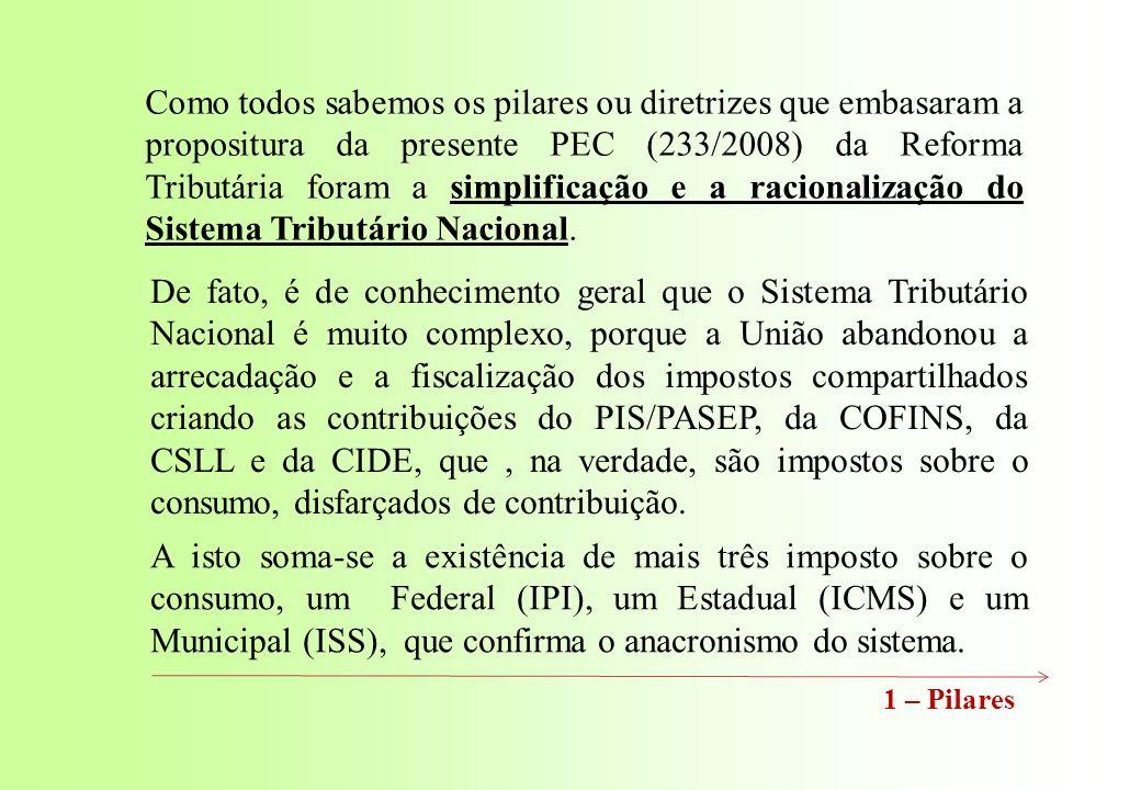 Como todos sabemos os pilares ou diretrizes que embasaram a propositura da presente PEC (233/2008) da Reforma Tributária foram a simplificação e a racionalização do Sistema Tributário Nacional.