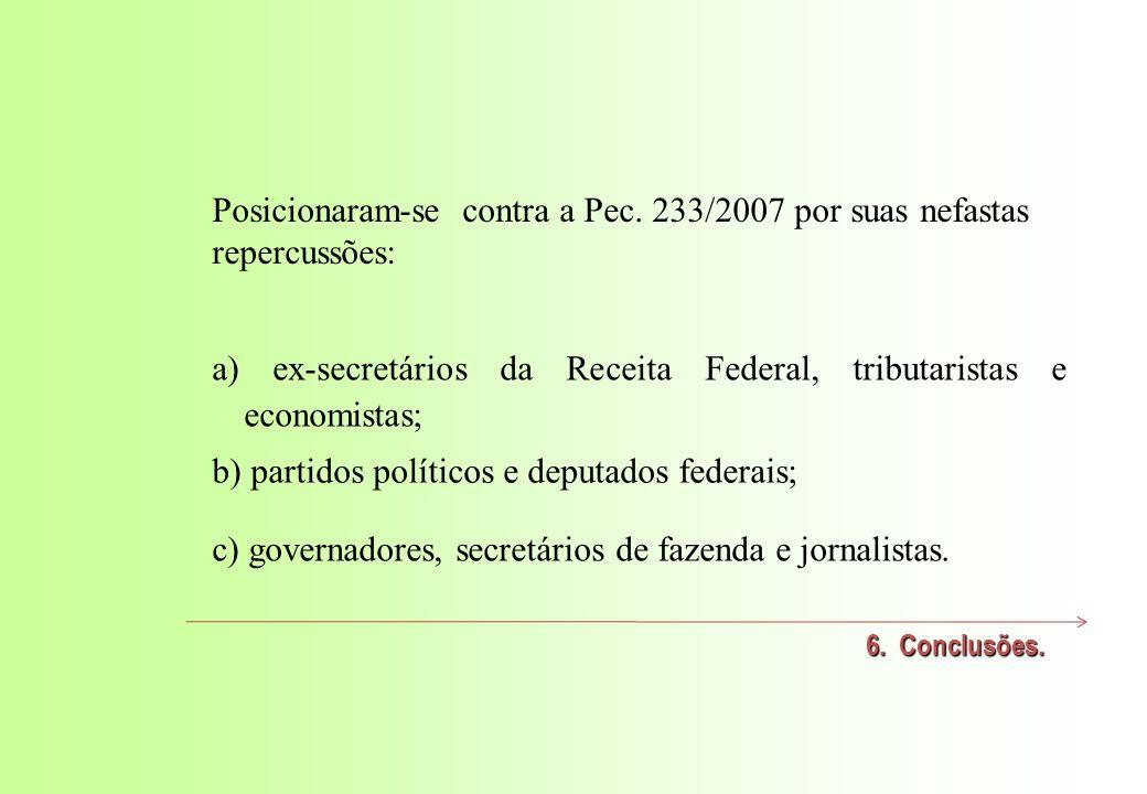 Posicionaram-se contra a Pec. 233/2007 por suas nefastas repercussões: 6.