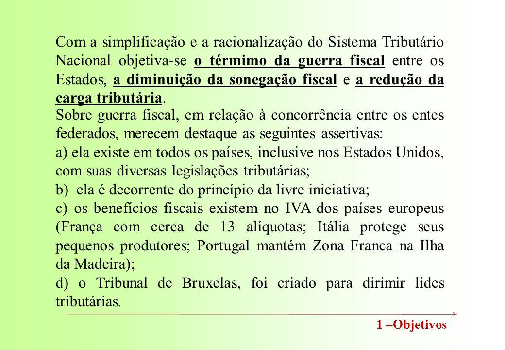 1 –Objetivos Com a simplificação e a racionalização do Sistema Tributário Nacional objetiva-se o térmimo da guerra fiscal entre os Estados, a diminuição da sonegação fiscal e a redução da carga tributária.