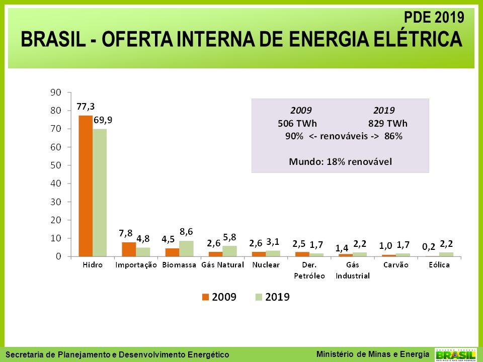 Secretaria de Planejamento e Desenvolvimento Energético - SPE Secretaria de Planejamento e Desenvolvimento Energético Ministério de Minas e Energia BRASIL - OFERTA INTERNA DE ENERGIA ELÉTRICA PDE 2019