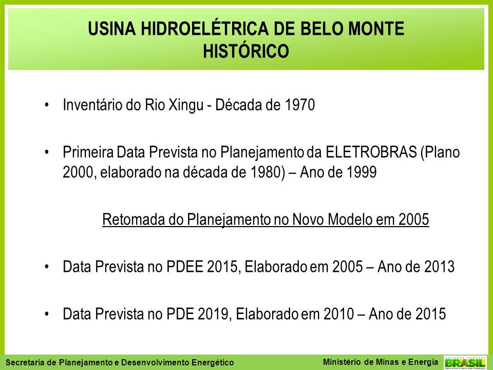 Secretaria de Planejamento e Desenvolvimento Energético - SPE Secretaria de Planejamento e Desenvolvimento Energético Ministério de Minas e Energia Inventário do Rio Xingu - Década de 1970 Primeira Data Prevista no Planejamento da ELETROBRAS (Plano 2000, elaborado na década de 1980) – Ano de 1999 Retomada do Planejamento no Novo Modelo em 2005 Data Prevista no PDEE 2015, Elaborado em 2005 – Ano de 2013 Data Prevista no PDE 2019, Elaborado em 2010 – Ano de 2015 USINA HIDROELÉTRICA DE BELO MONTE HISTÓRICO