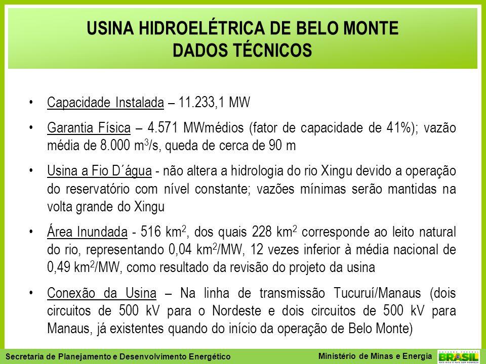 Secretaria de Planejamento e Desenvolvimento Energético - SPE Secretaria de Planejamento e Desenvolvimento Energético Ministério de Minas e Energia Capacidade Instalada – 11.233,1 MW Garantia Física – 4.571 MWmédios (fator de capacidade de 41%); vazão média de 8.000 m 3 /s, queda de cerca de 90 m Usina a Fio D´água - não altera a hidrologia do rio Xingu devido a operação do reservatório com nível constante; vazões mínimas serão mantidas na volta grande do Xingu Área Inundada - 516 km 2, dos quais 228 km 2 corresponde ao leito natural do rio, representando 0,04 km 2 /MW, 12 vezes inferior à média nacional de 0,49 km 2 /MW, como resultado da revisão do projeto da usina Conexão da Usina – Na linha de transmissão Tucuruí/Manaus (dois circuitos de 500 kV para o Nordeste e dois circuitos de 500 kV para Manaus, já existentes quando do início da operação de Belo Monte) USINA HIDROELÉTRICA DE BELO MONTE DADOS TÉCNICOS
