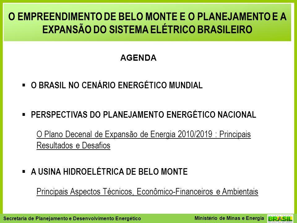 Secretaria de Planejamento e Desenvolvimento Energético - SPE Secretaria de Planejamento e Desenvolvimento Energético Ministério de Minas e Energia O EMPREENDIMENTO DE BELO MONTE E O PLANEJAMENTO E A EXPANSÃO DO SISTEMA ELÉTRICO BRASILEIRO O BRASIL NO CENÁRIO ENERGÉTICO MUNDIAL PERSPECTIVAS DO PLANEJAMENTO ENERGÉTICO NACIONAL O Plano Decenal de Expansão de Energia 2010/2019 : Principais Resultados e Desafios A USINA HIDROELÉTRICA DE BELO MONTE Principais Aspectos Técnicos, Econômico-Financeiros e Ambientais Licenciamento Ambiental Monitoramento do Sistema Elétrico UHE Belo Monte AGENDA
