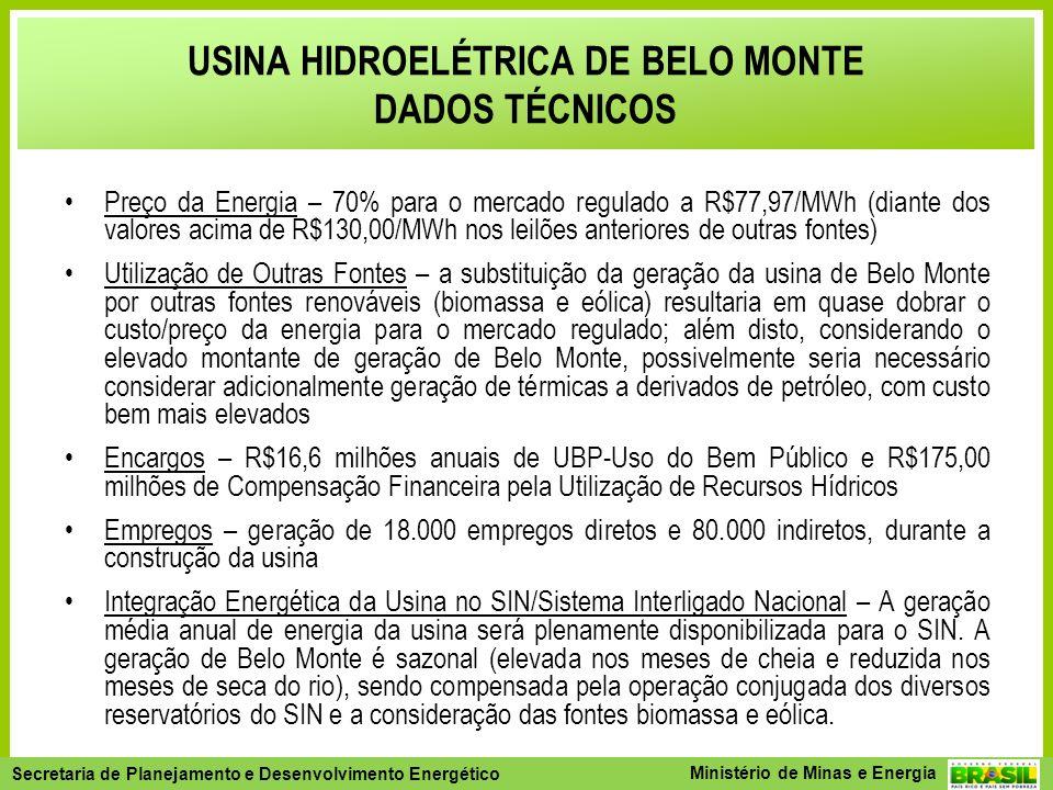 Secretaria de Planejamento e Desenvolvimento Energético - SPE Secretaria de Planejamento e Desenvolvimento Energético Ministério de Minas e Energia Preço da Energia – 70% para o mercado regulado a R$77,97/MWh (diante dos valores acima de R$130,00/MWh nos leilões anteriores de outras fontes) Utilização de Outras Fontes – a substituição da geração da usina de Belo Monte por outras fontes renováveis (biomassa e eólica) resultaria em quase dobrar o custo/preço da energia para o mercado regulado; além disto, considerando o elevado montante de geração de Belo Monte, possivelmente seria necessário considerar adicionalmente geração de térmicas a derivados de petróleo, com custo bem mais elevados Encargos – R$16,6 milhões anuais de UBP-Uso do Bem Público e R$175,00 milhões de Compensação Financeira pela Utilização de Recursos Hídricos Empregos – geração de 18.000 empregos diretos e 80.000 indiretos, durante a construção da usina Integração Energética da Usina no SIN/Sistema Interligado Nacional – A geração média anual de energia da usina será plenamente disponibilizada para o SIN.