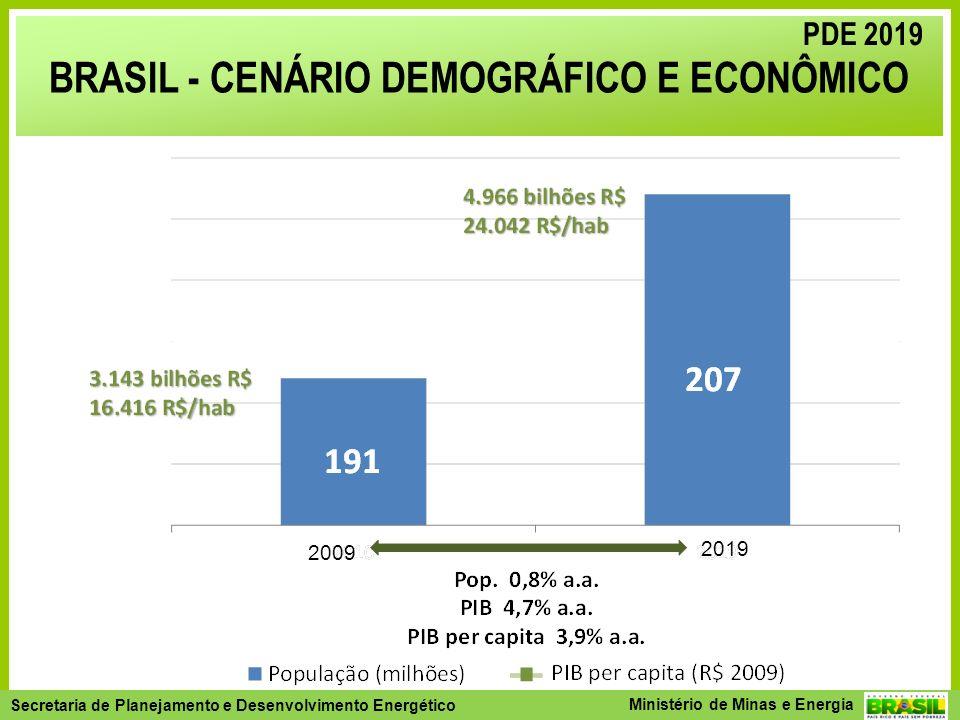 Secretaria de Planejamento e Desenvolvimento Energético - SPE Secretaria de Planejamento e Desenvolvimento Energético Ministério de Minas e Energia BRASIL - CENÁRIO DEMOGRÁFICO E ECONÔMICO PDE 2019 2009 2019