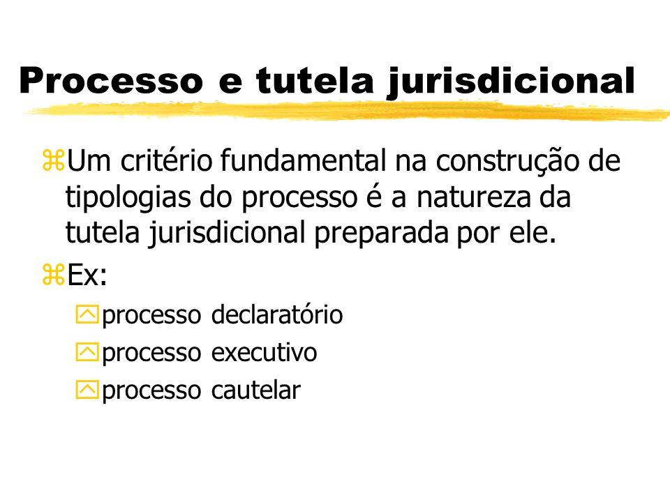 Processo e tutela jurisdicional zUm critério fundamental na construção de tipologias do processo é a natureza da tutela jurisdicional preparada por el