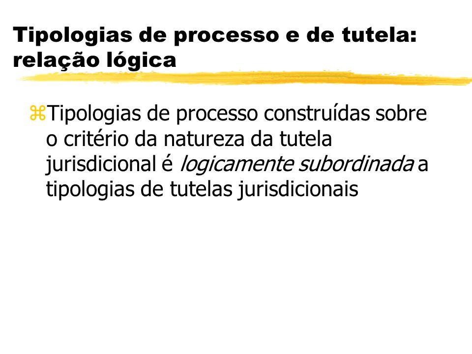 Tipologias de processo e de tutela: relação lógica zTipologias de processo construídas sobre o critério da natureza da tutela jurisdicional é logicame