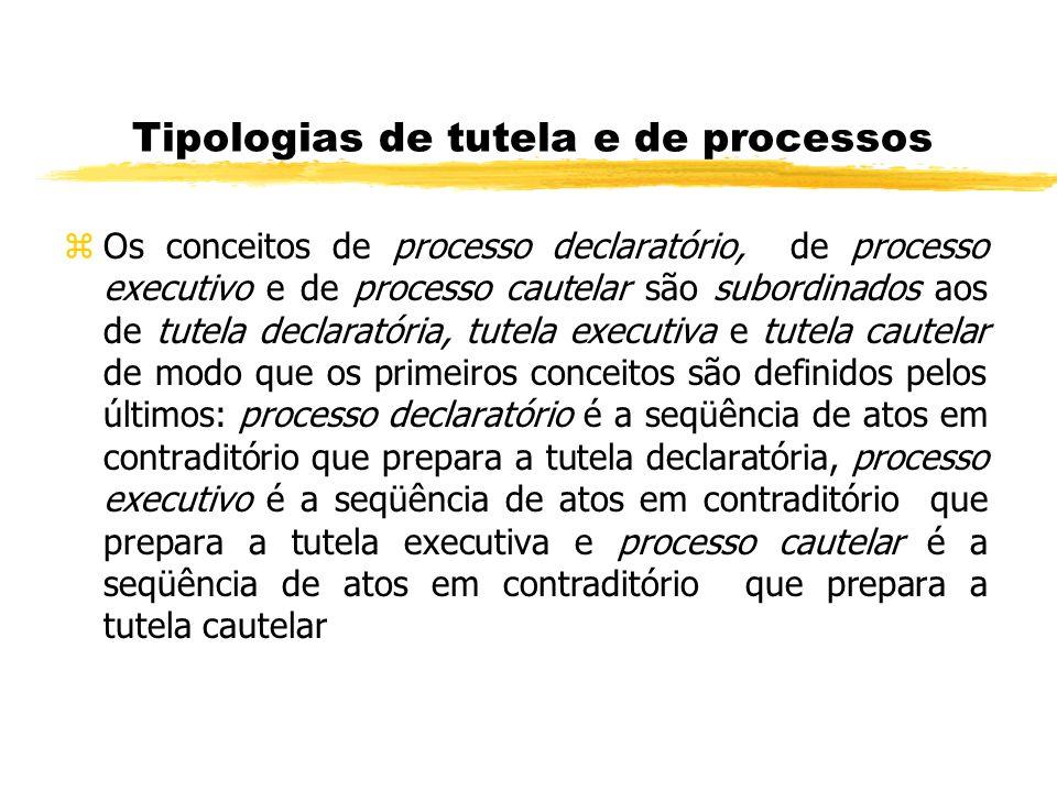 Tipologias de tutela e de processos zOs conceitos de processo declaratório, de processo executivo e de processo cautelar são subordinados aos de tutel