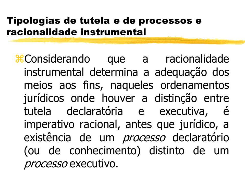 Tipologias de tutela e de processos e racionalidade instrumental zConsiderando que a racionalidade instrumental determina a adequação dos meios aos fi