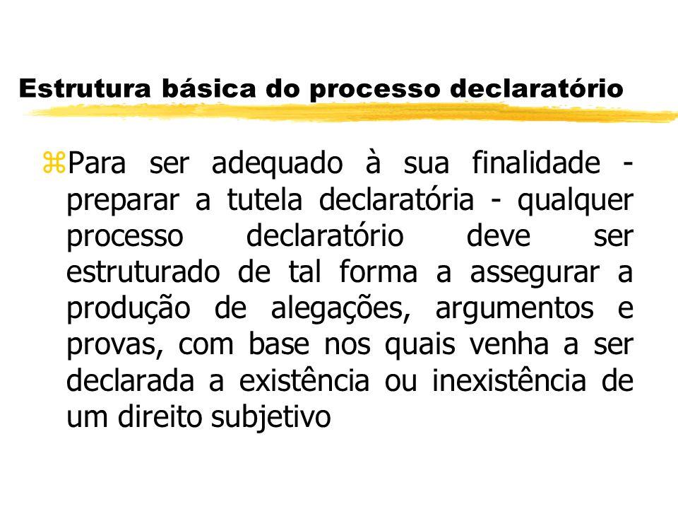 Estrutura básica do processo declaratório zPara ser adequado à sua finalidade - preparar a tutela declaratória - qualquer processo declaratório deve s