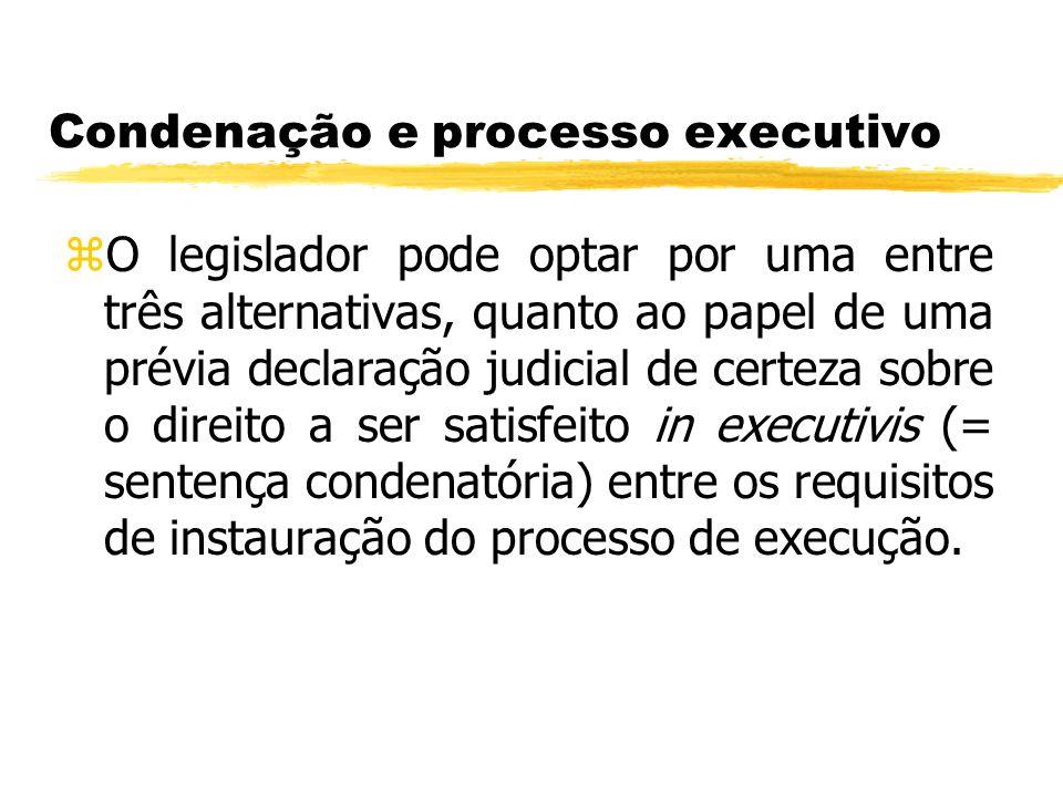 Condenação e processo executivo zO legislador pode optar por uma entre três alternativas, quanto ao papel de uma prévia declaração judicial de certeza