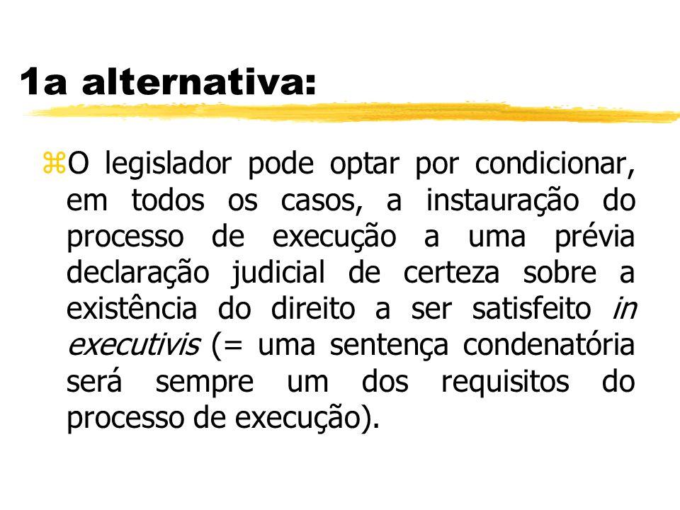 1a alternativa: zO legislador pode optar por condicionar, em todos os casos, a instauração do processo de execução a uma prévia declaração judicial de