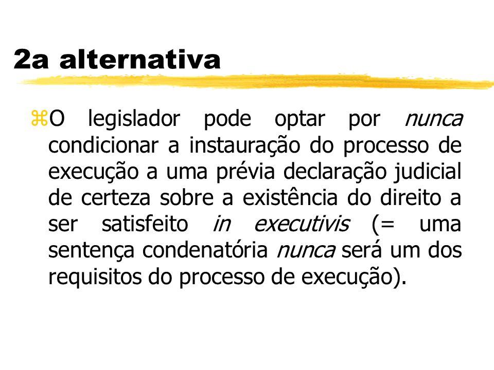 2a alternativa zO legislador pode optar por nunca condicionar a instauração do processo de execução a uma prévia declaração judicial de certeza sobre