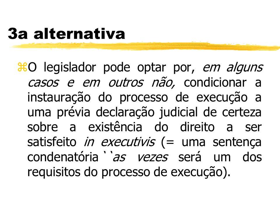3a alternativa zO legislador pode optar por, em alguns casos e em outros não, condicionar a instauração do processo de execução a uma prévia declaraçã
