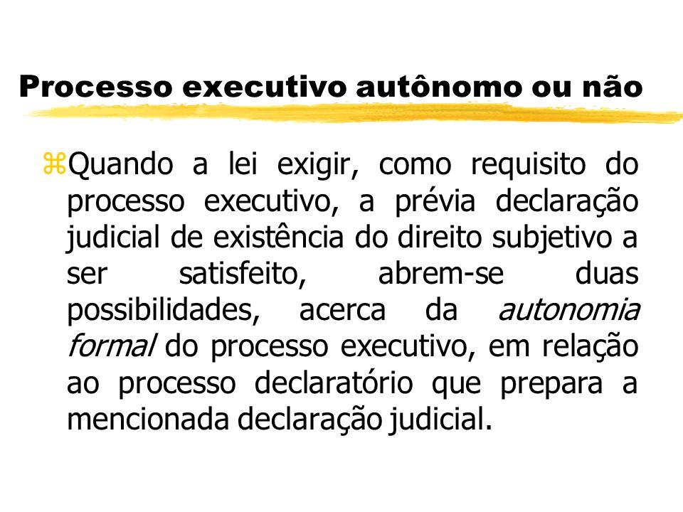 Processo executivo autônomo ou não zQuando a lei exigir, como requisito do processo executivo, a prévia declaração judicial de existência do direito s
