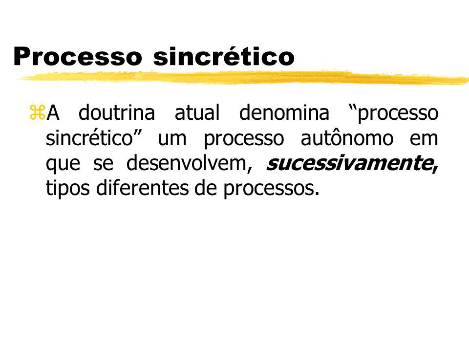 Processo sincrético zA doutrina atual denomina processo sincrético um processo autônomo em que se desenvolvem, sucessivamente, tipos diferentes de pro