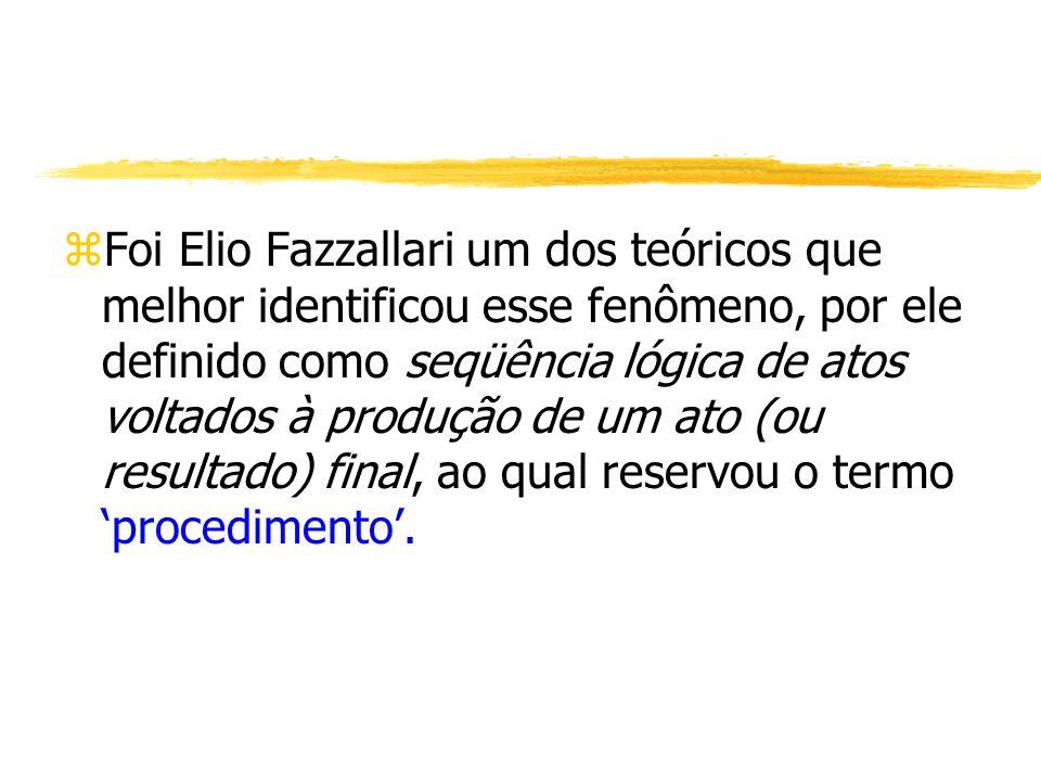 zFoi Elio Fazzallari um dos teóricos que melhor identificou esse fenômeno, por ele definido como seqüência lógica de atos voltados à produção de um at