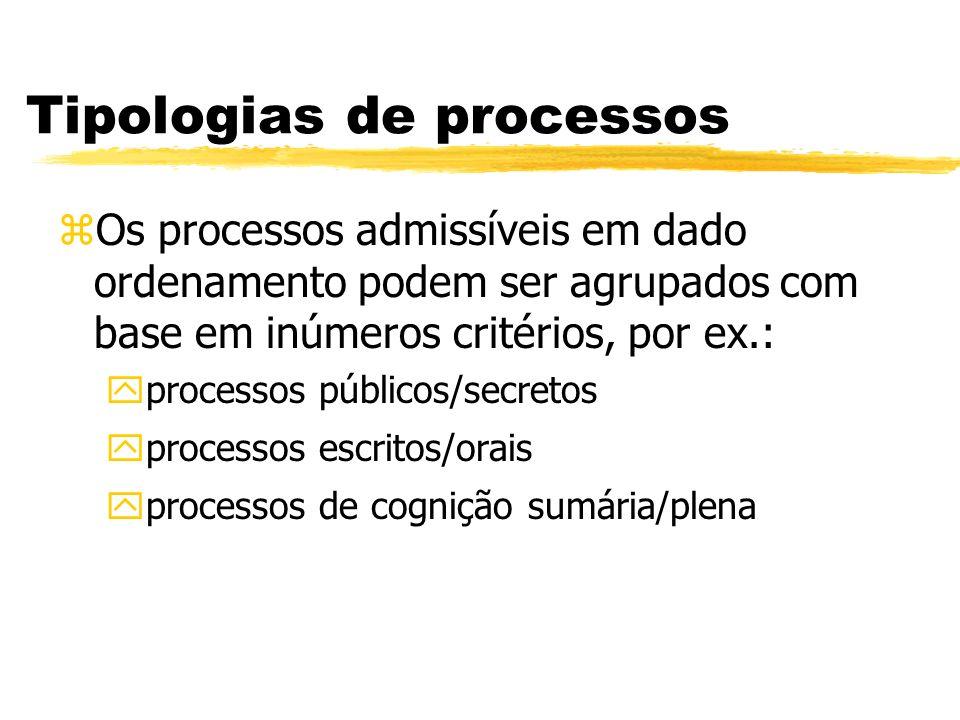 Tipologias de processos zOs processos admissíveis em dado ordenamento podem ser agrupados com base em inúmeros critérios, por ex.: yprocessos públicos