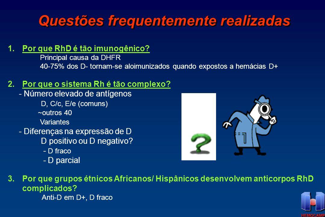 Locus RH Duplicação de 2 Genes antígeno D antígenos CcEe ce Rh negativo Deletado X Europeus- 15-17% X Rh positivo RHD RHCE ce, Ce, cE, or CE Circulos- representam 32-35 diferentes amino acidos entre RhD e RhCE RhCE RhD C/cE/e 1.