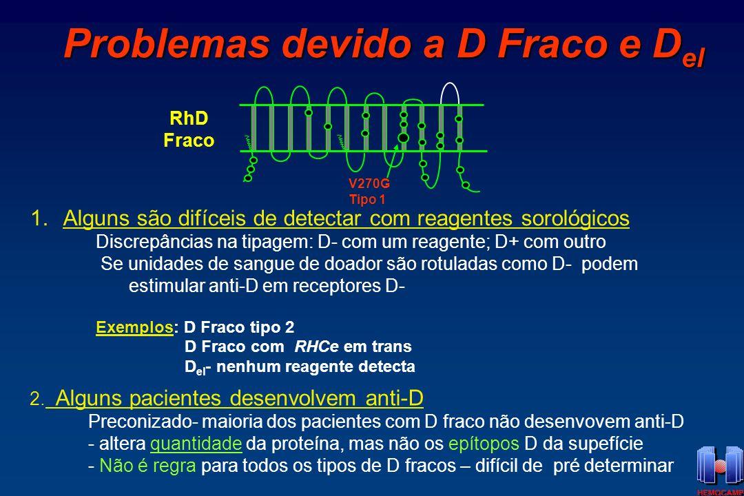 Proteína D Fraco RhD: 10.000 a 25.000 sítios/hemácias D Fraco: densidade antigênica varia de acordo com o tipo de D fraco: 66 a 5.000 sítios/hemácia 300 500 1000 1500 2500 tipo 4 tipo 3 tipo 1 tipo 2 tipo 5 Cut off sorológico= 500 ags/hemácias D fraco tipo 5: geralmente tipados como RhD-negativo